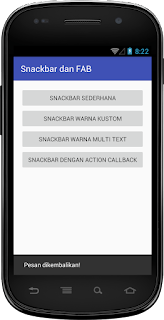 Hasil Snackbar dengan Action Callback Android