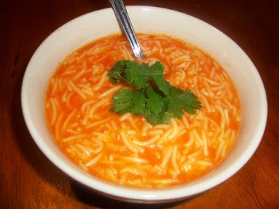 This easy recipe makes a great starter before lunch or dinner Red vermicelli soup recipe