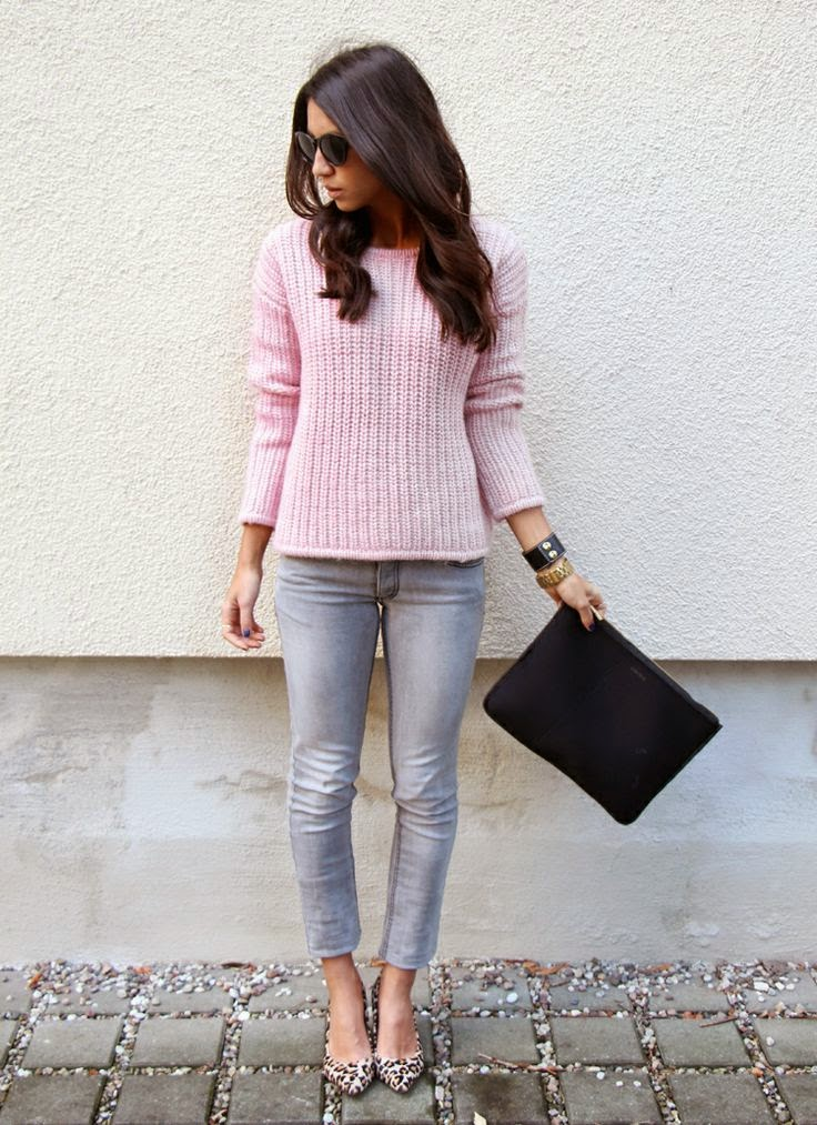 Wearing a Pastel Pink Sweater with Animal Printed Pumps for Autumn 2014