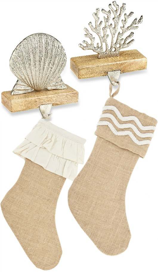 Beach Shell and Coral Stocking Hangers and Jute Stockings