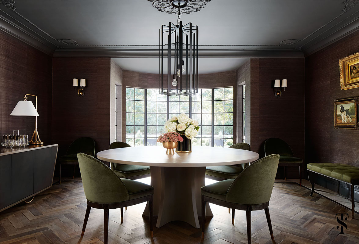 Dining Room with Classic Decor in French Tudor Renovation by Summer Thornton on Hello Lovelym with