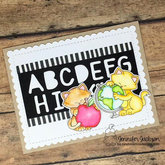 NND Sponsors Cupcake Inspirations Challenge #451 | Back to school card using Newton Dreams of New York and Newton's Graduation Stamp Sets and Essential Alphabet and Frames and Flags Die Sets by Newton's Nook Designs #newtonsnook #handmade
