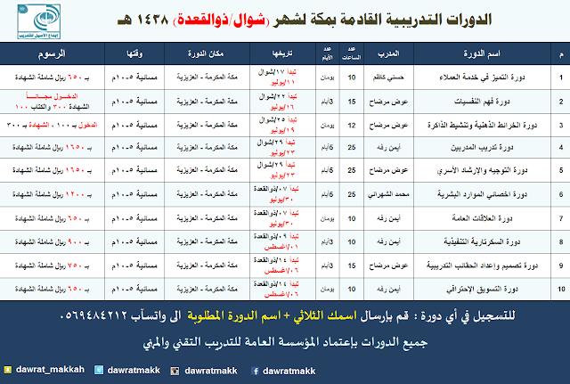 جدول الدورات القادمة بمكة 1438 (تحديث مستمر)