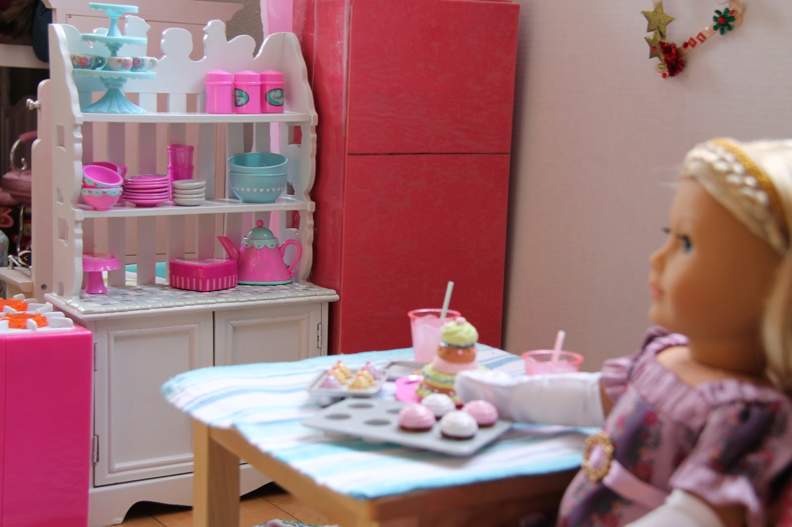 American Girl Doll Play: Thrift Store Finds - Kitchen Cabinet