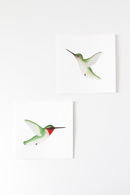 hummingbirds, watercolor hummingbirds, hummingbird paintings, ruby throated hummingbird male and female, Anne Butera, My Giant Strawberry