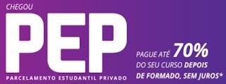 Fazer Inscrição PEP 2017 Parcelar Faculdade