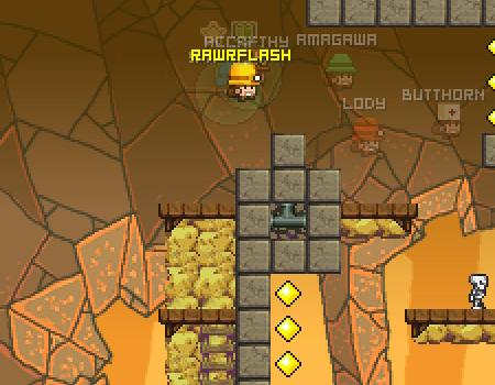 Dispute um jogo de plataforma em cavernas. Em tempo real com outros jogadores. Caves Online (multiplayer)