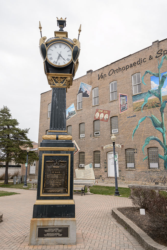 Soldiers and Sailors Memorial Clock in DeKalb, Illinois