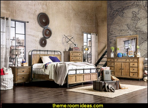 Industrial Two-tone Dark Oak Platform Bed