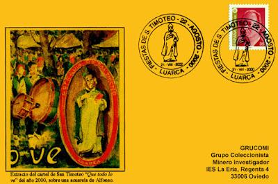 Tarjeta del matasellos de las fiestas de San Timoteo en Luarca