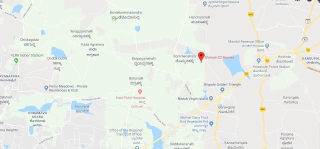 Shriram Greenfield O2 Homes Location Map