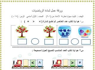 ورقة عمل لدرس مقارنة الأعداد من (1-9) للصف الأول