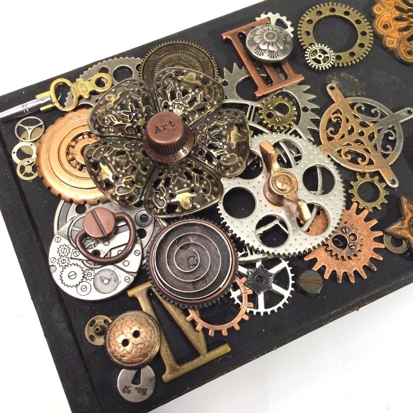 Friends in art steampunk box with new finnabair mechanicals for Mini tin mailboxes for crafts