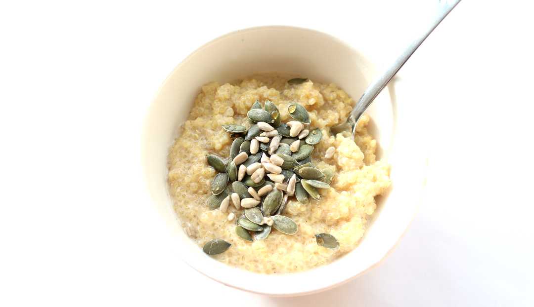 Creamy Quinoa Porridge with Agave Syrup, Pumpkin & Sunflower Seeds