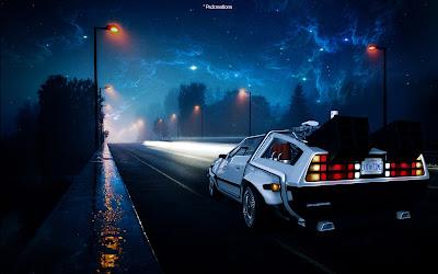 Coche del futuro listo para viajar en el tiempo de noche
