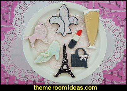 Paris Collection Cookie Cutters Paris party decorations - Paris themed party supplies - Party in Paris Birthday Party Decorations  -  Pink Paris Party -  Paris party balloons - Eiffel Tower Favor Boxes -  French-themed celebration  - Pink Poodle Paris Theme Birthday Party