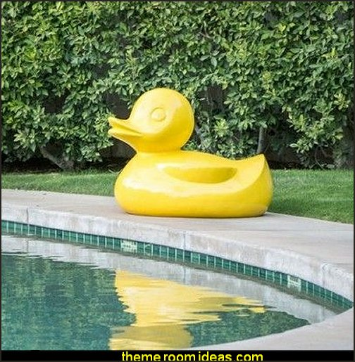 Large Fiberglass Duck  rubber duck theme bedrooms - rubber duck decor - yellow duck theme decorating ideas - rubber duck bedding - duck bedding - ducky bedding - rubber duck wall decal stickers