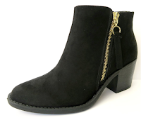 madison + mallory black faux suede zip-up booties