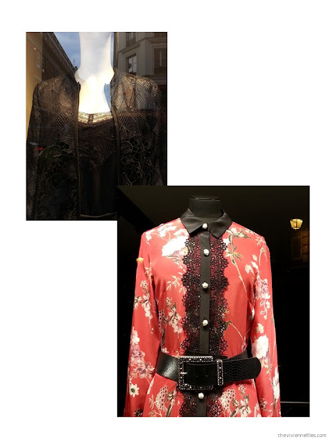 lace trim on garments in the shop windows of Paris