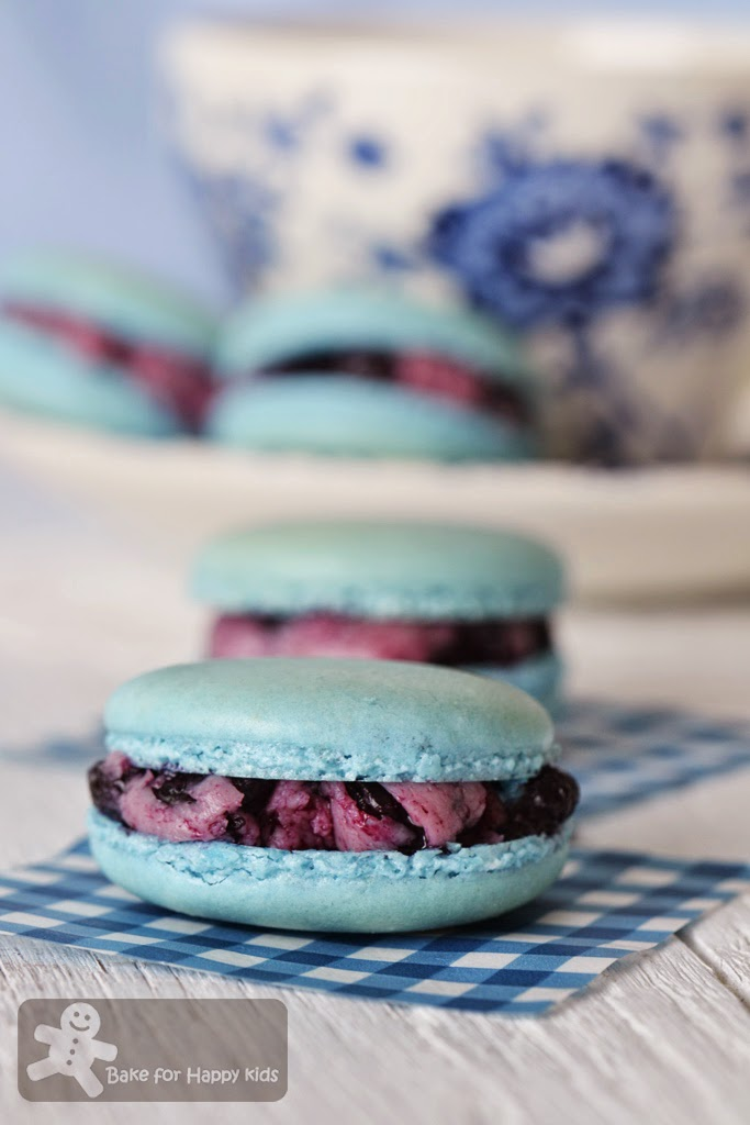 blueberry French macarons Italian meringue blueberry buttercream