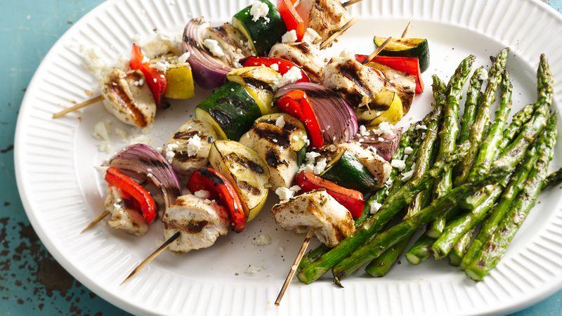 Grilled Mediterranean Chicken Vegetable Kabobs Recipe ...