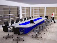 Interior Ruang Pertemuan - Meja rapat besar dengan fasilitas arus listrik / AC power out untuk kapasitas s.d 22 orang
