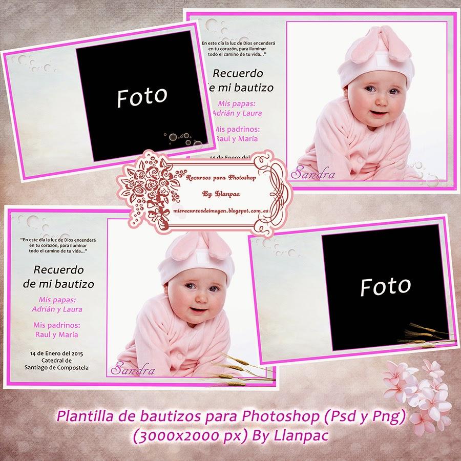 recursos photoshop llanpac plantilla para invitaciones de bautizo