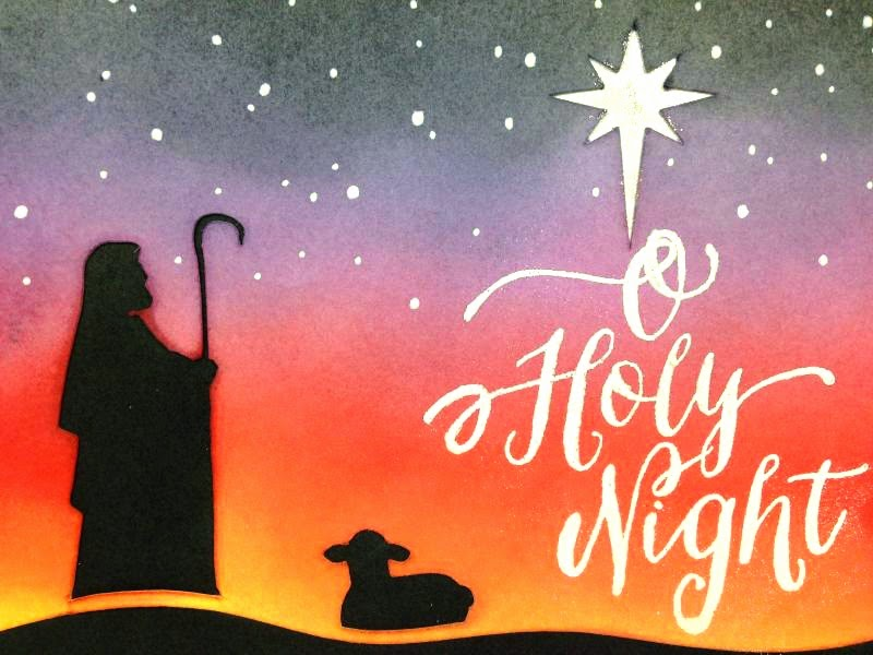 Close To My Heart Artfully Sent Cricut cartridge Holy Night Christmas card close up