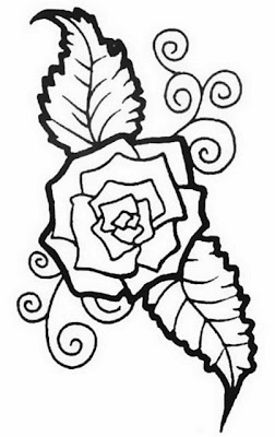 Rose with leaves tattoo stencil