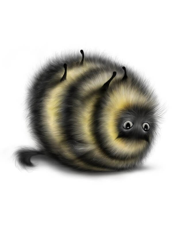 09-Cat-Bee-Maria-Fluffy-Animals-in-Digital-Art-Creatures-www-designstack-co
