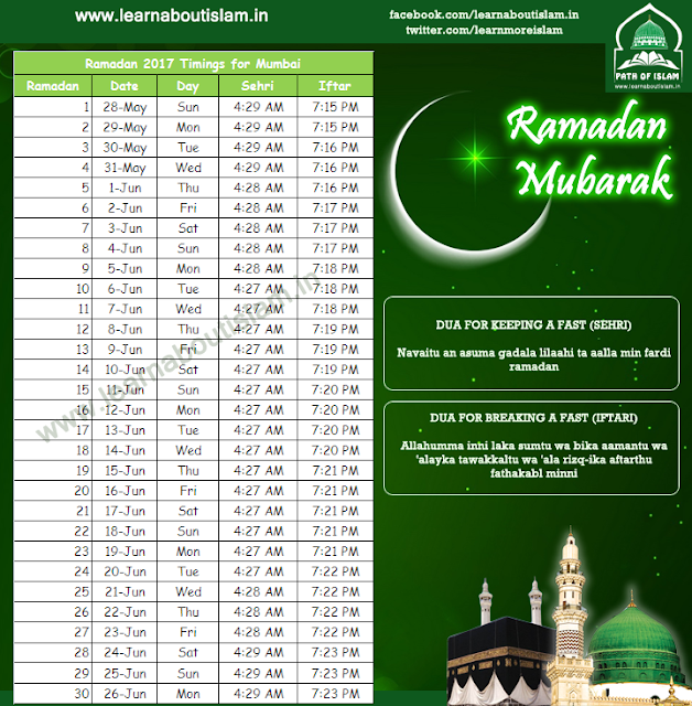 Ramadan Timetable 2017 - Ramadan Sehri and Iftar Dua and Timings