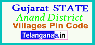 Anand District Pin Codes in Gujarat State
