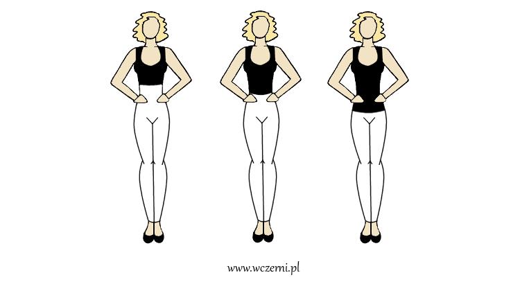 szerokie ramiona można optycznie zwężone poprzez poszerzenie bioder odpowiednim stanem spodni