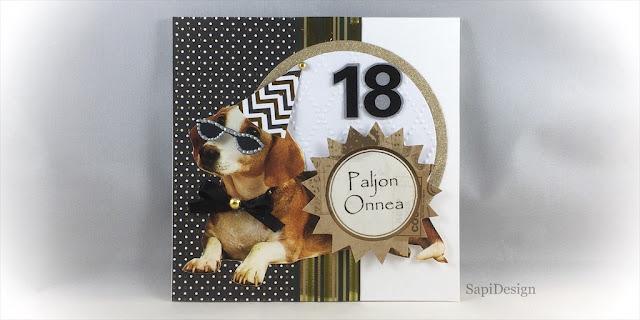 18 vuotta Happy Birthday card handmade die cutting embossing dogs SapiDesign