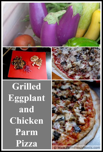 a collage photo showing how to make grilled eggplant parm pizza and grilled chicken parm pizza