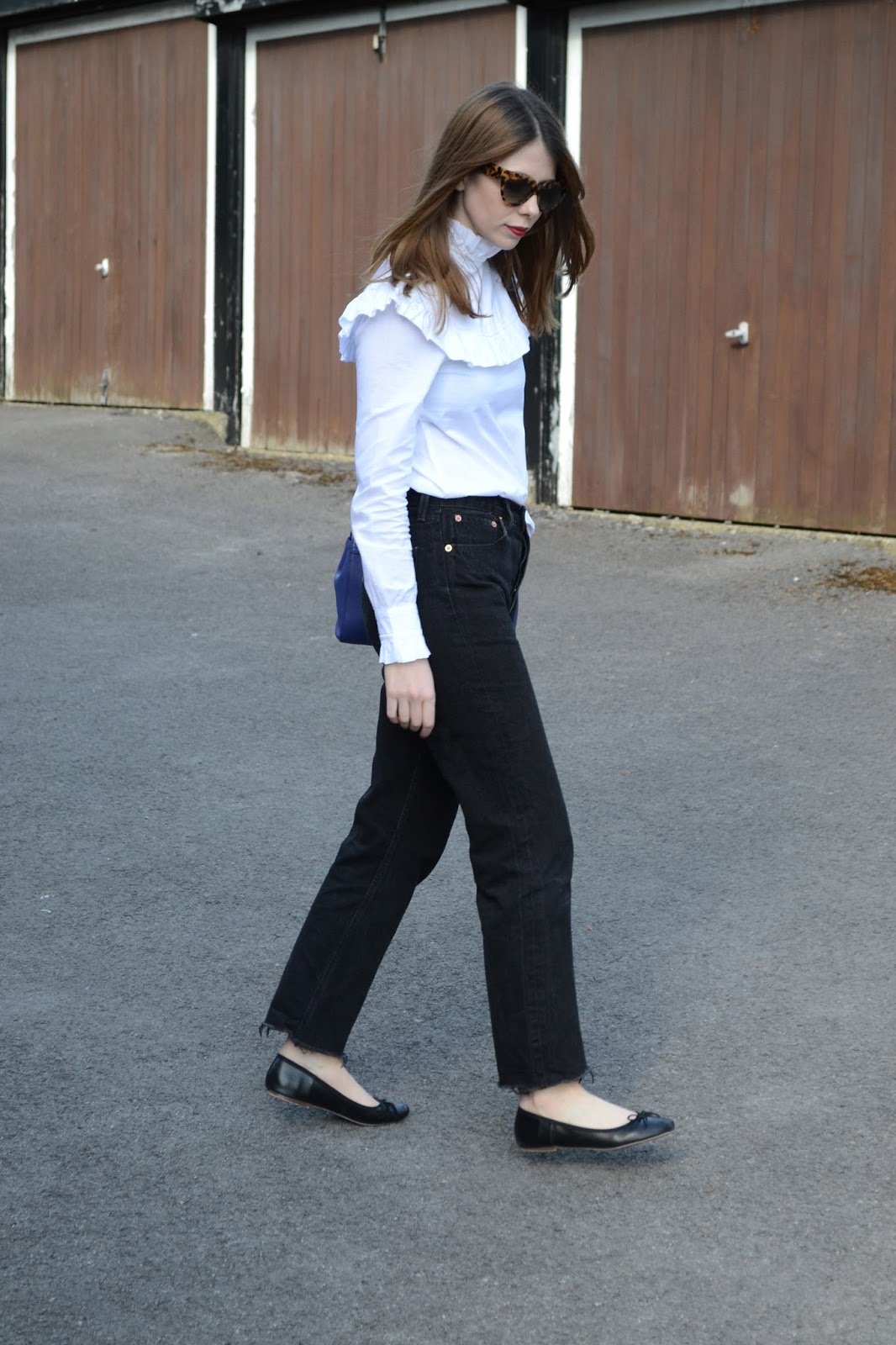 57982bcd White frill shirt from Archive by Alexa Chung for Marks and Spencers, Black  flat ballet