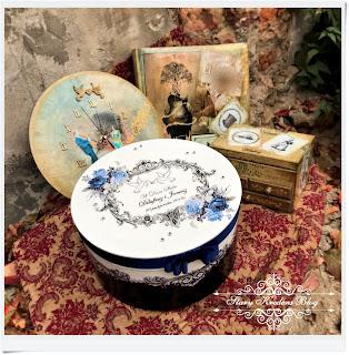 Komplet prezentów ślubnych w stylu retro  – romantyczna paczka wspomnień  –   decoupage.