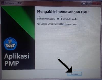 Mengakhiri pemasangan PMP versi 1.5, klik selesai