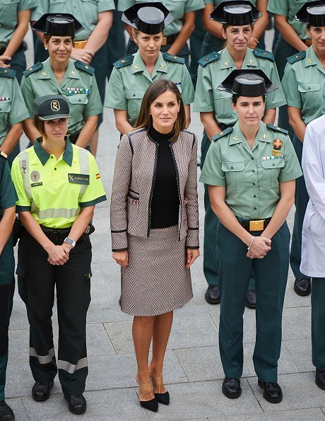 Queen Letizia attends the 30th anniversary of the incoming of the women in the Civil Guard. Letizia wore Hugo Boss jacket and skirt