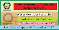 National Institute of Technology Recruitment 2017– 137 Professor, Associate Professor