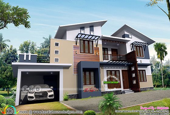 Rendering of mixed roof 4 bedroom house