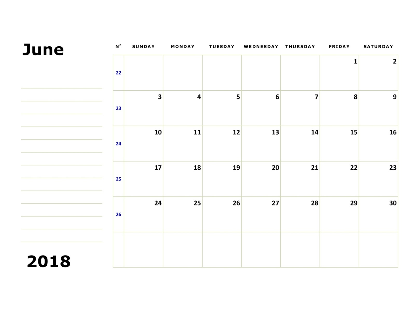 June 2018 Printable Calendar Templates