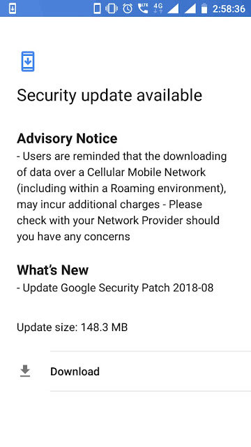 Nokia 6 August 2018 Android Security update