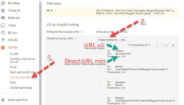 Direct từ URL cũ sang URL mới trong blogspot