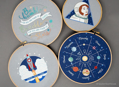 Space Embroidery Hand Embroidery Modern Planet Patterns by SeptemberHouse