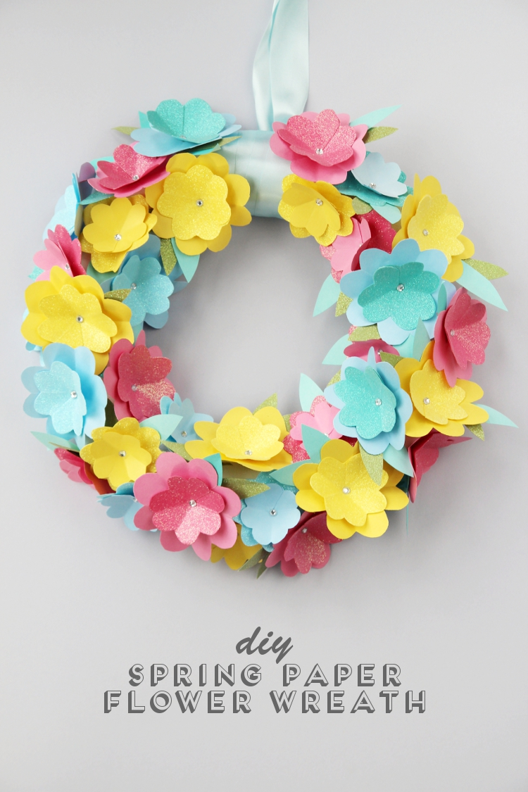 Diy Spring Paper Flower Wreath.