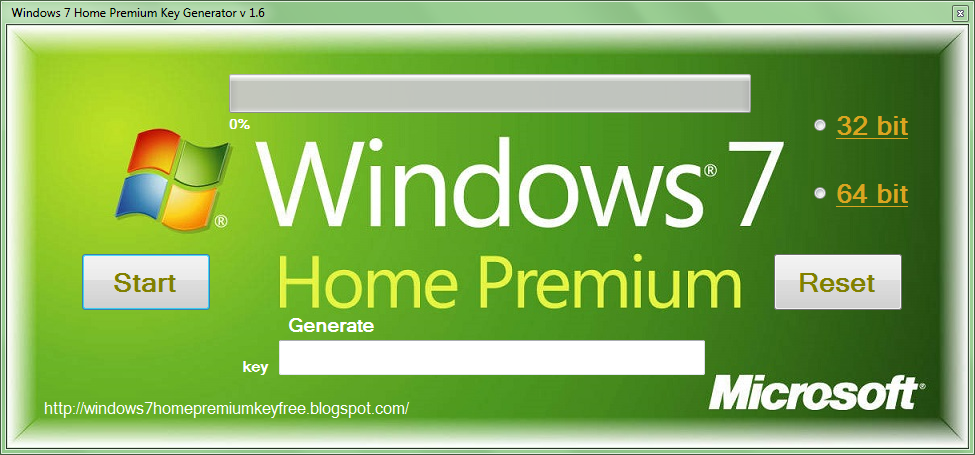 Windows 7 Home Premium Key Generator v 1.6