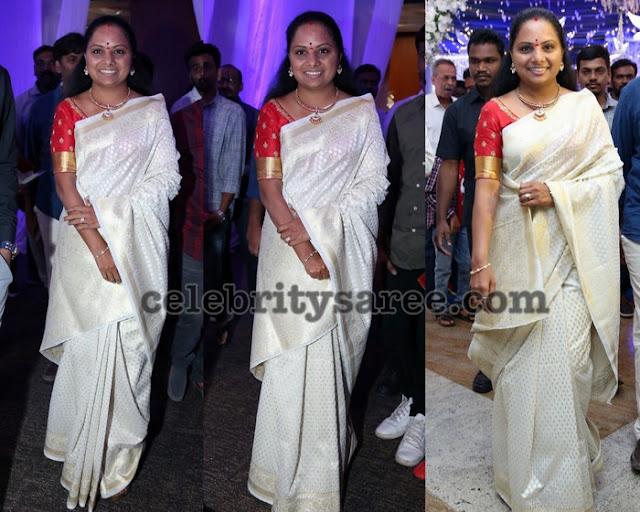 Kavitha Kalvakuntla Off White Benaras Saree