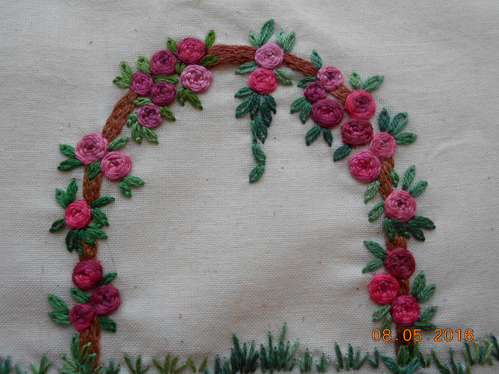 Hayfield cottage rose arbor embroidery