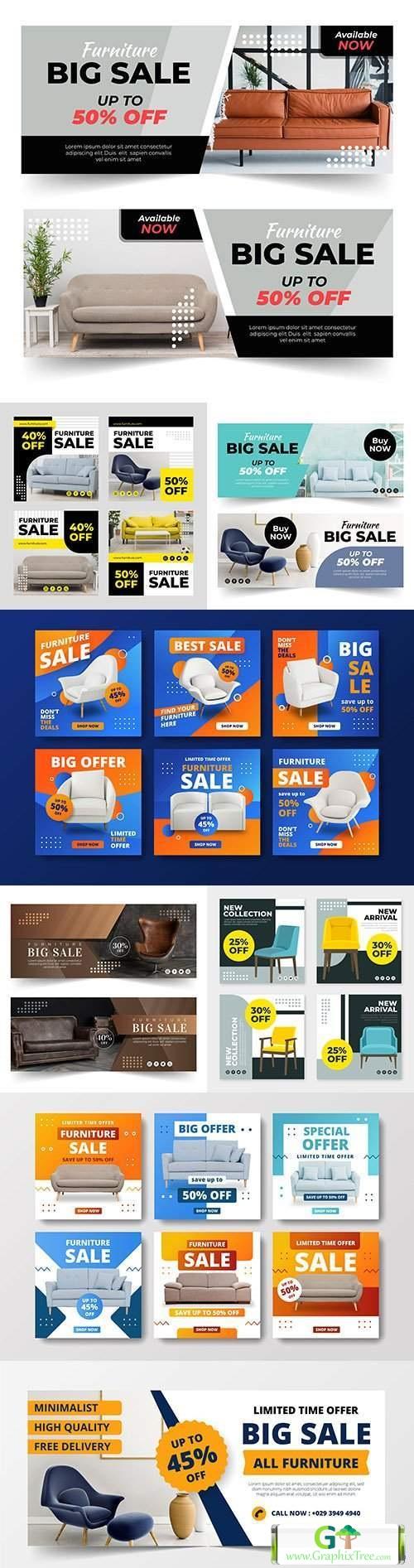 Furniture sales banner design and instagram posts